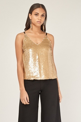 Sequin Front Contrast Cami Top
