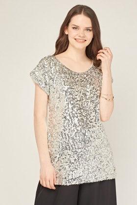 Sequin Front Sheer Top