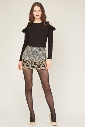 Sequin Mesh Mini Skirt