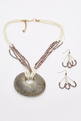 Beaded Statement Necklace And Earrings Set