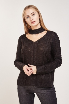 Cable Knit Choker Neck Jumper