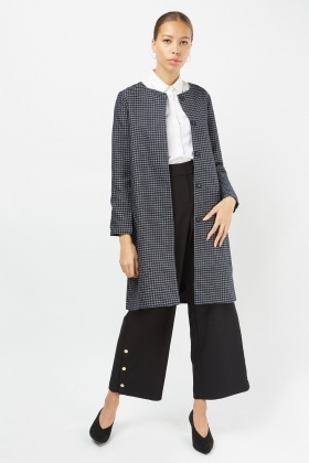 Collarless Window Pane Jacket