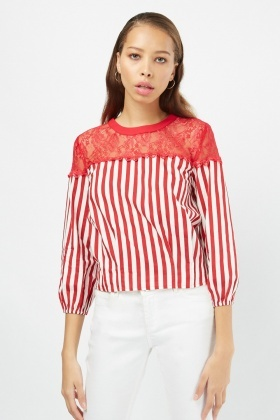 Lace Insert Striped Top