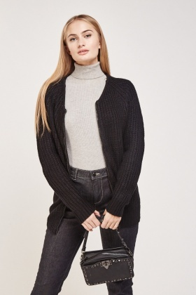 Ribbed Zipper Front Cardigan