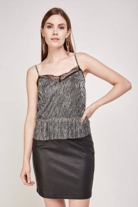 Metallic Lace Plisse Top