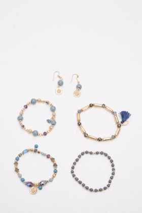 Pack Of 4 Beaded Bracelet And Earrings Set