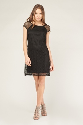 Fish Net Overlay Tunic Dress