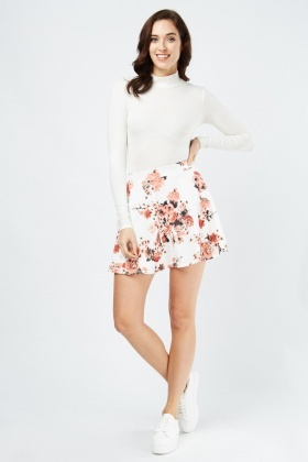 Floral Pattern Flared Skirt