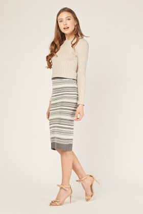 Mix Print Knitted Tube Skirt