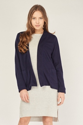 Ribbed Open Front Knit Cardigan