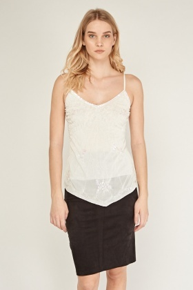 Sequin Mesh Overlay Cami Top