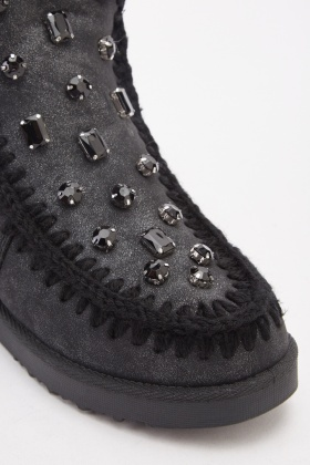 Encrusted Front Metallic Boots
