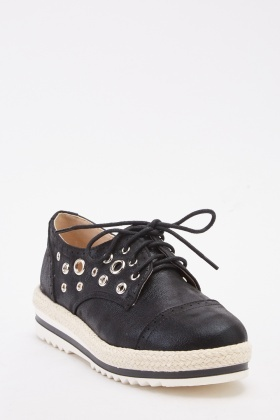 Eyelet Detailed Lace Up Espadrille Shoes