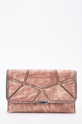 Faux Leather Applique Overlay Clutch Bag