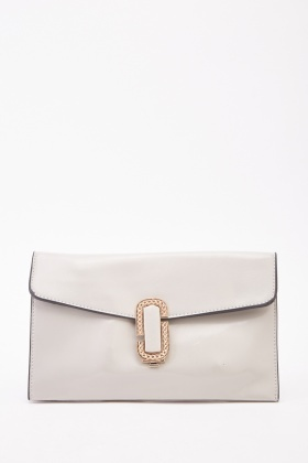Gold Front Detailed Faux Leather Envelope Bag