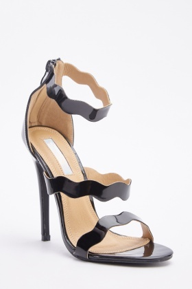 PVC Scallop Cut Heeled Sandals