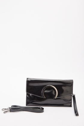 Shiny Faux Leather Envelope Clutch Bag