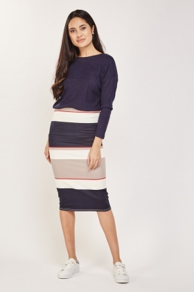 Colour Block Striped Midi Skirt
