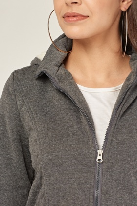 Diamond Stitched Panel Hooded Jacket