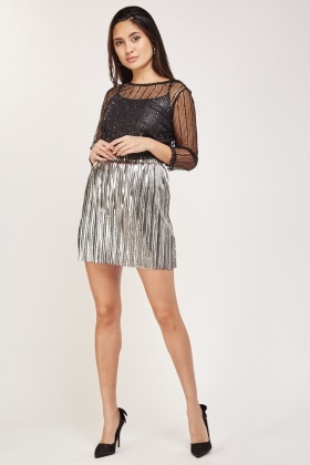 Eyelash Lurex Mesh Overlay Top