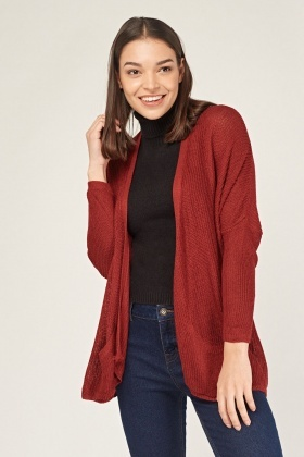 Maroon Loose Knit Cardigan