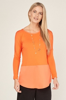 Batwing Sleeve Orange Peplum Top