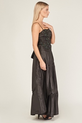 Beaded Embroidered Ruched Sateen Maxi Dress