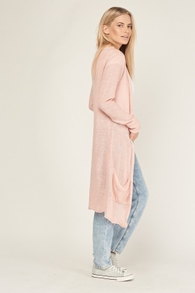 Pink Long Knitted Cardigan