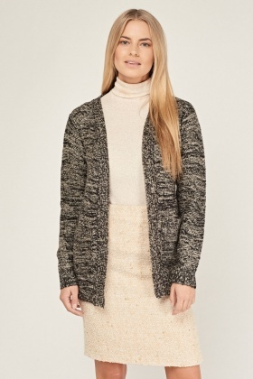 Speckled Open Front Knitted Cardigan