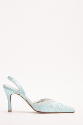 Beaded Satin Court Heels