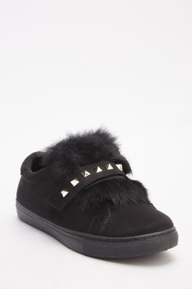 Fluffy Studded Plimsolls