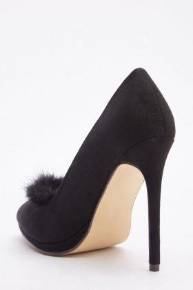 Fluffy Trim Court Heels