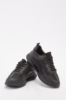 Mesh Insert Contrast Low Top Trainers