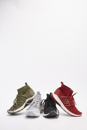 Perforated Contrast High Top Trainers
