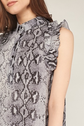 Ruffle Snake Skin Print Dress