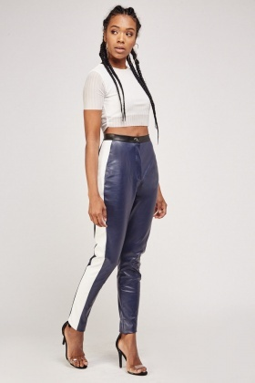Contrasted Faux Leather Skinny Trousers