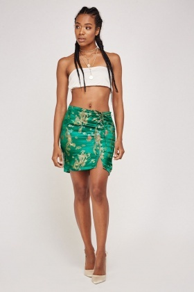 Oriental Lace Up Front Skirt