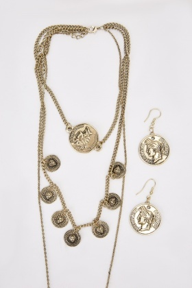 Antique Coin Necklace And Earring Set