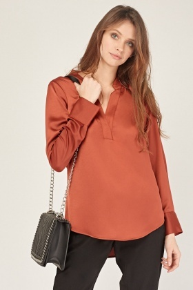 Rust V Neck Blouse