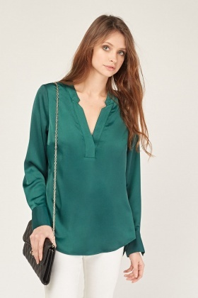 V Neck Silky Blouse