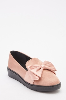 Bow Front Suedette Shoes