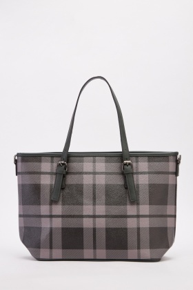 Checked Print Tote Handbag