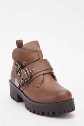 Double Buckle Strap Ankle Boots