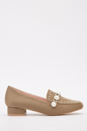 Faux Pearl Trim Loafers