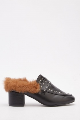 Fluffy Insole Studded Mules