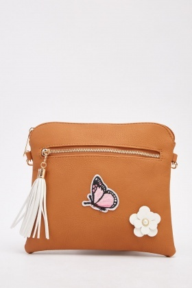 Front Applique Detailed Cross Body Bag