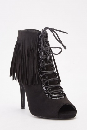 Open Toe Fringed Suedette Boots