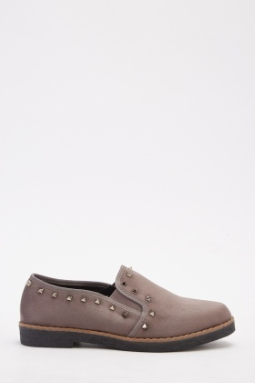 Studded Slip-On Suedette Plimsolls