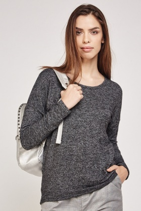Casual Long Sleeve Speckled Top