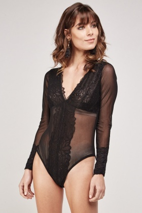 Lace Trim Mesh Bodysuit